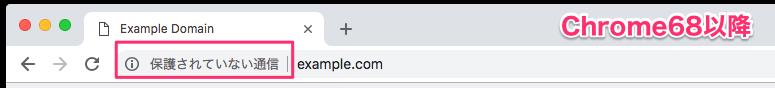 Chrome68以降のアドレスバーでの警告表示